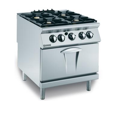 Cuisinière à gaz 4 feux vifs, 4×6 kW sur four à gaz 1×8 kW équipé d'une grille en acier chromé