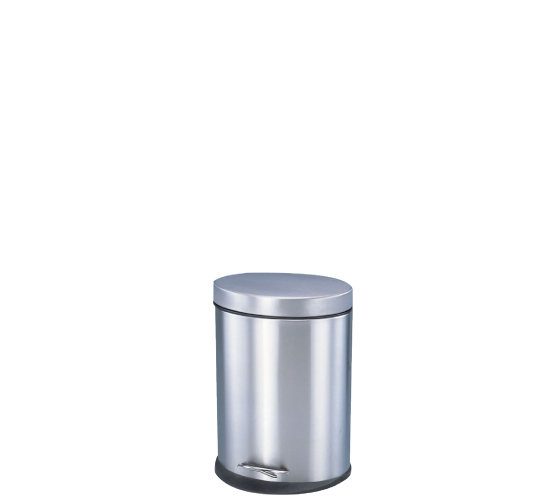 Poubelle ovale à pédale en inox/Oval trash bin with pedal-operated lid, stainless steel