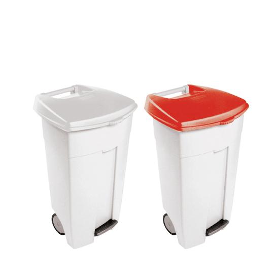 Poubelle à pédale pour cuisine HACCP, en polyéthyléne /Trash bin with pedal-operated lid for HACCP Kitchens, polyéthylén