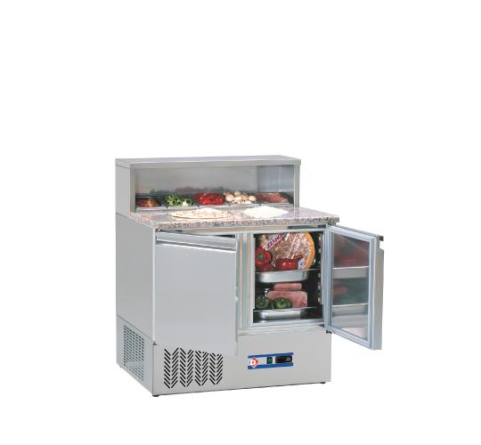 Table de préparation 2 portes GN 1/1 avec structure réfrigérée